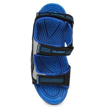 Columbus PU Black & RBlue Casual Floaters -Ab-771