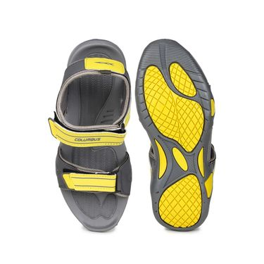 Columbus PU Grey & Yellow Casual Floaters -Ab-772