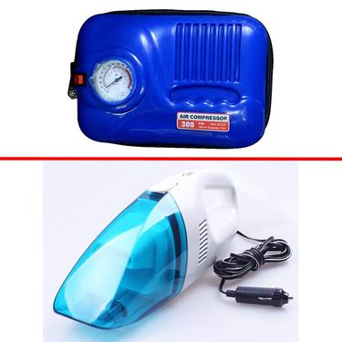 Combo of Vacuum cleaner + Air Compressor Blue