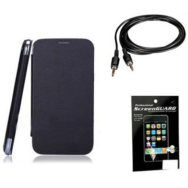 Combo of Camphor Flip Cover (Black) + Screen Guard + Aux Cable for Micromax A068