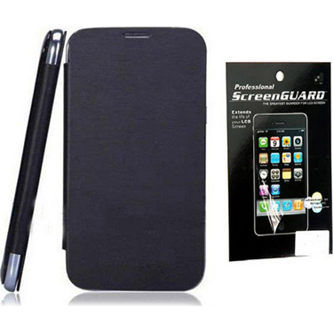 Combo of Camphor Flip Cover (Black) + Screen Guard for Micromax A34