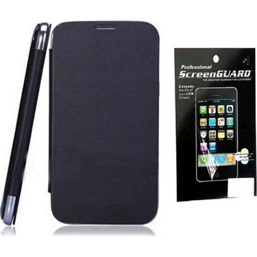 Combo of Camphor Flip Cover (Black) + Screen Guard for Nokia 520