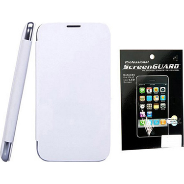 Combo of Camphor Flip Cover (White) + Screen Guard for Micromax A068