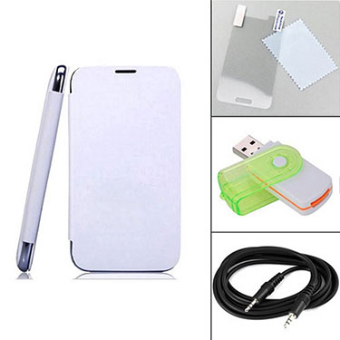 Combo of Camphor Flip Cover (White) + Screen Protector for Micromax A35 + Aux Cable + Multi Card Reader