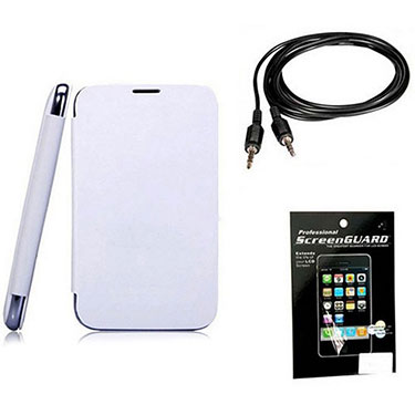 Combo of Camphor Flip Cover (White) + Screen Protector for Micromax A67 + Aux Cable