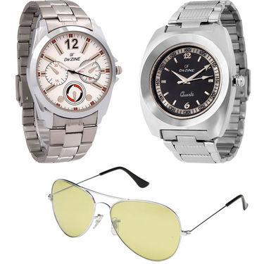 Combo of Dezine 2 Analog Watches + 1 Aviator Sunglasses_DZ-CMB109