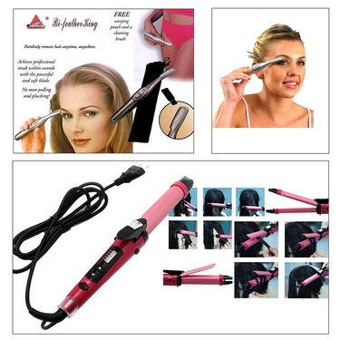 Combo of Professional 2 In 1 Hair Curler cum Straightener + Women Eyebrow Trimmer