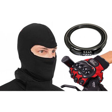 Combo of Pro-Biker Gloves + Face Mask + Multipurpose Number Cable Lock