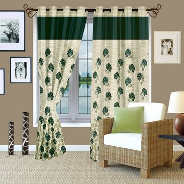 Story @ Home Green Jacquard 1 pc Door curtain-7 feet-DBR4016