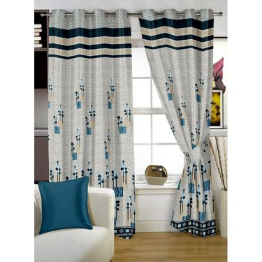 Story @ Home Grey Jacquard 1 pc Door curtain-7 feet-DBR4020