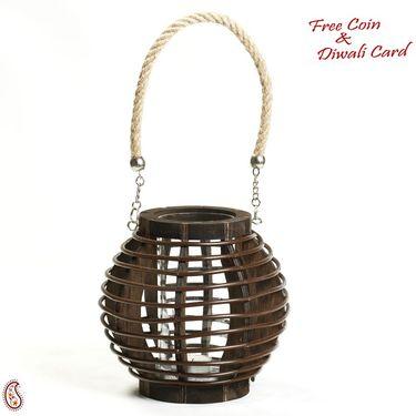 Aapno Rajasthan Brown Basket Design Lantern Tealight Holder with a Rope handle
