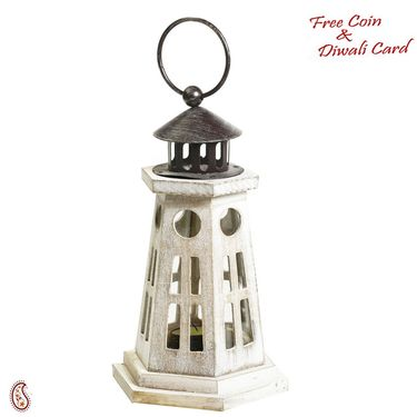 Aapno Rajasthan Light House Design Lantern Tealight Holder made in wood