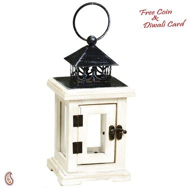 Square Mini Lantern with Hinge Door and glass panes