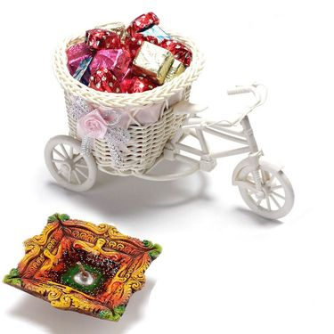 Smart cane cycle Basket with Home made Chocolates and Terracotta Diya_DCHO08