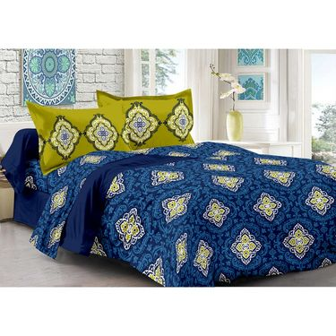 Valtellina 100% Cotton Double Bedsheet with 2 Pillow Cover-212-b