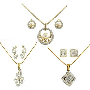 Dg Jewels 24k Gold and Silver Plated Bollywood Collection of Beautiful 3 Pendant Set - DGPSCombo003