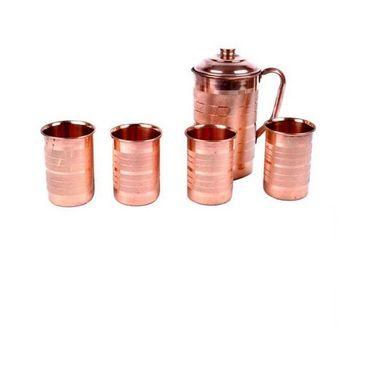 Copper Fame Jug with Lid &Set of 4pcs Glass Set_DLB-001