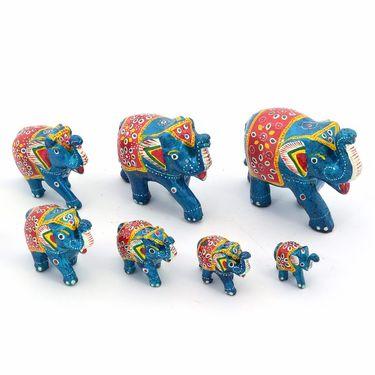 Little India Handcrafted Paper Mache 7 Piece Blue Elephant Set 175