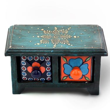 Little India Wooden Ceramic Blue Pottery Double Drawer Set 262