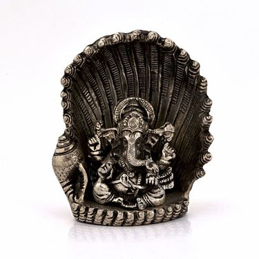 Little India White Metal Antique Lord Ganesha on Naag Idol 310