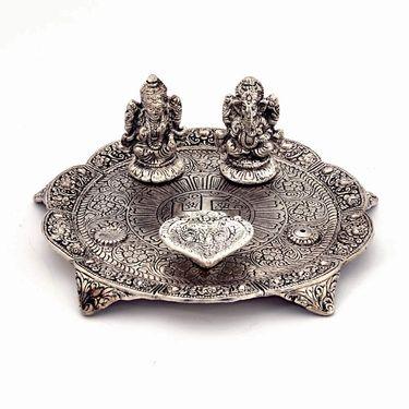 Little India White Metal Lord Laxmi Ganesh With Dia Thali 317