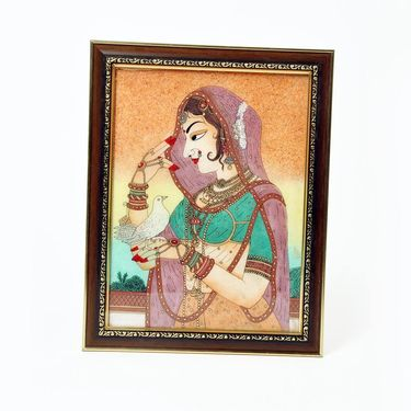 Little India Cute Bani Thani With Pigeon Gemstone Painting 343