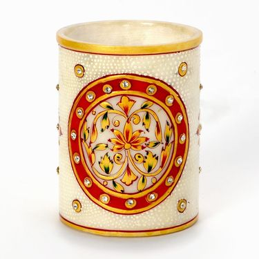 Little India Hand Painted Floral Gold Minakari Marble Pen Stand 379