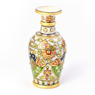 Little India Colorful Meenakari Work Peacock Design Flower Vase 404