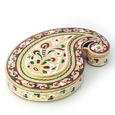 Little India Handmade White Metal Golden Meenakari Dryfruit Box 425