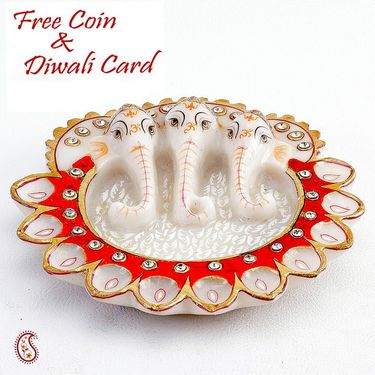 Aapno Rajasthan Pure White Marble Three Headed Ganesh Diya Thali