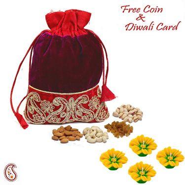 Aapno Rajasthan Purple & Red Velvet Dry fruit Pouch and Diwali Hamper