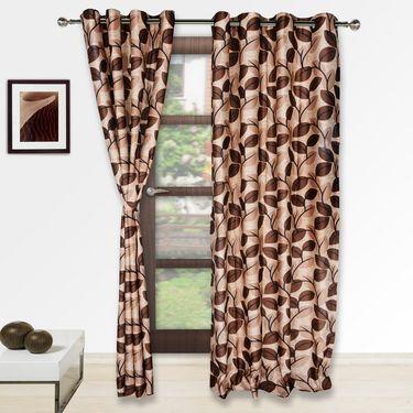 Story @ Home Brown 2 pc Door curtain-7 feet-DNR3061