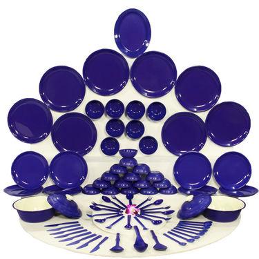 Kitchen Duniya Round Dinner Set 80 Pcs-Electric Blue