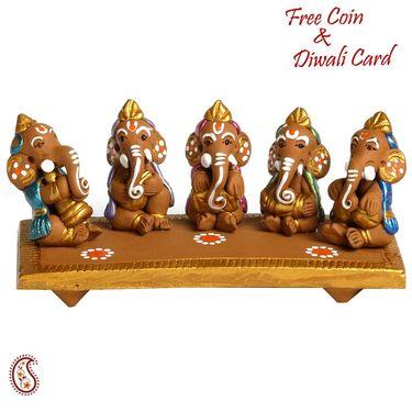 Aapno Rajasthan Multicolor Terracotta Ganesh Playing with Matki Showpiece