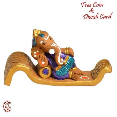 Aapno Rajasthan Multicolor Terracotta Valmiki Ganesh Showpiece