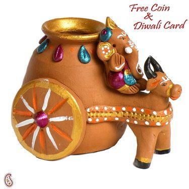 Aapno Rajasthan Multicolor Terracotta Linga Ganesh Showpiece