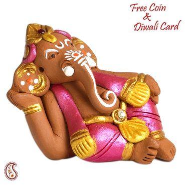 Aapno Rajasthan Brown & Green Terracotta Linga Ganesh Showpiece