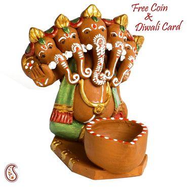 Aapno Rajasthan Multicolor Terracotta Ganesh in Boat Showpiece