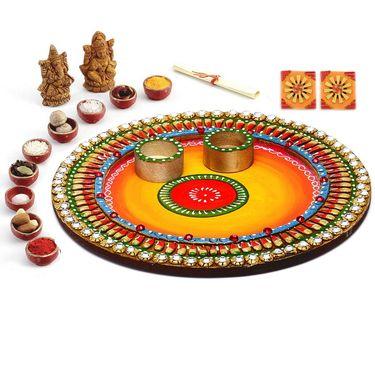 Aapno Rajasthan Lovely Shades Round Diwali Pooja Thali
