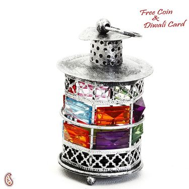 Rustic Silver Tone Metal Tea Light Holder with color stones