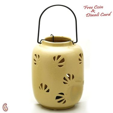 Mini  Yellow Ceramic Hanging Enclosed Candle/Tealight Holder