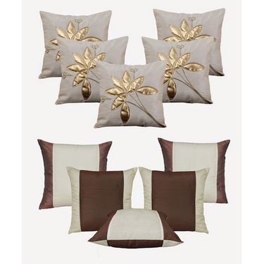 Dekor World Cream Floral Bonanza Cushion Cover(Pack of 10 Pcs)-DWCB-148