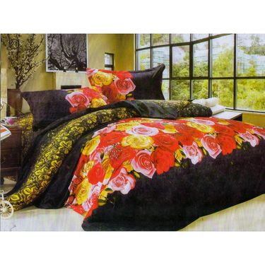 Set of 2 Floral 3D Printed Bedsheet with 4 Pillow Covers-DWCB-432_66