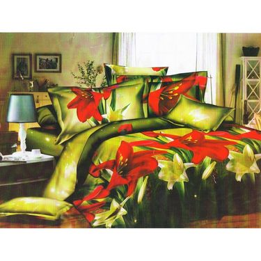 Set of 4 Floral 3D Printed Bedsheet with 8 Pillow Covers-DWCB-433_72_71_70