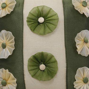Dekor World 9 Flower Tissue Cushion Cover (Pack of 5)-DWCC-12-126-5