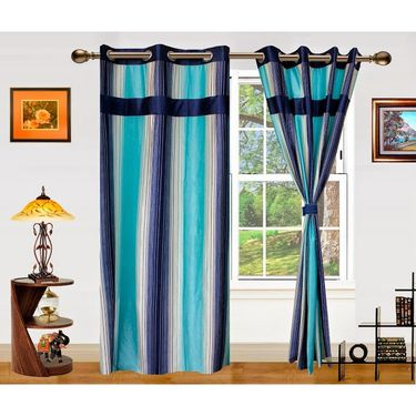 Dekor World Ultimate Stripes Window Curtain-Set of 2 -DWCT-478-5