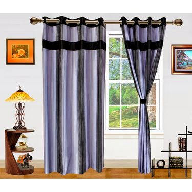 Dekor World Ultimate Stripes Window Curtain-Set of 2 -DWCT-479-5