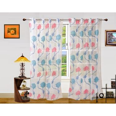 Dekor World Net Floral Window Curtain (Pack of 2)-DWCT-903-5