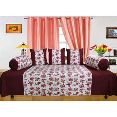 Dekor World Floral Printed Diwan Set-Pack of 6 Pcs-DWDS-0102