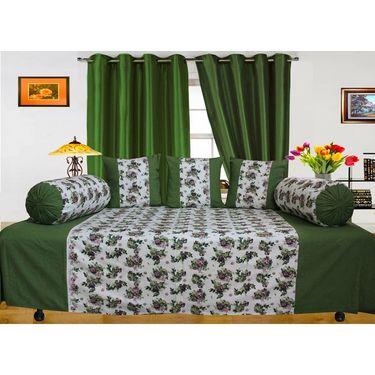 Dekor World Floral Printed Diwan Set-Pack of 6 Pcs-DWDS-0103